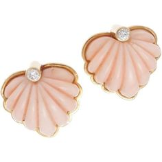 Preowned Chic Angel Skin Coral Scallop Diamond Gold Earrings ($2,800) ❤ liked on Polyvore featuring jewelry, earrings, red, gold diamond earrings, 18 karat gold earrings, gold jewelry, handcrafted earrings and 18k yellow gold earrings