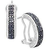 Victoria Townsend Diamond Earrings, Sterling Silver Black Diamond Hoop Earrings (1/2 ct. t.w.)