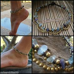 Sell one like this Rainbow Fluorite Stone Chips Brass Bead Ankle Bracelet Anklet Gypsy Hippie Boho