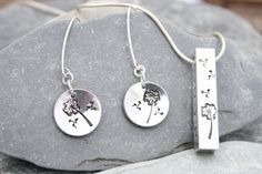 Jewellery set, silver jewellery, hand stamped jewellery, personalised gift set available from Thistledown Wishes via Etsy and Folksy