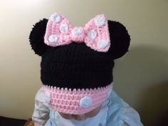 Crochet Minnie Mouse Hat vídeo ༺✿ƬⱤღ https://www.pinterest.com/teretegui/✿༻