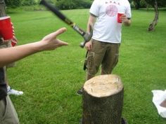 NAILED IT! Tournament is held where 2 competitors faceoff against each other in a race to see who can hammer their nail into a log the fastest. Each competitor alternates turns to strike the nail and drive it in. The winner is declared when their nail is completely flush in the wood. Each offers a buy in price and is split with the winner at the end of the tourney.