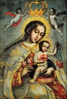 Virgen del Carmen Our Lady of Mount Carmel and the brown scapular. Blessed Mother Mary, Divine Mother, Blessed Virgin Mary, Religious Images, Religious Icons, Religious Art, Pintura Colonial, Jesus E Maria, Lady Of Mount Carmel