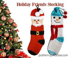 Holiday Friends Stocking #crochetpattern by Pattern Paradise