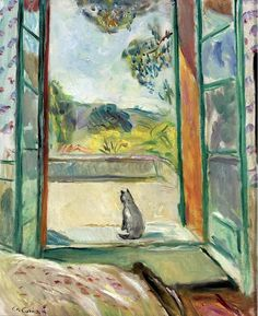 Charles Camoin, (French, 1879-1965) - Cat before an open window.