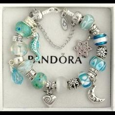 Pandora Beach Theme Bangle With Teal Faceted And Sea Gl Murano S Silver Star Charm Ers Mypandora Gifts For Me