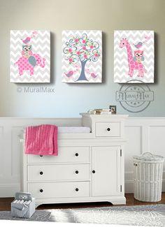 Nursery Art - Nursery Decor - Elephant Giraffe, Owl , Birds - 12 x 16 Canvas Art - Baby Girl Room Decor -  Tree Nursery Art, Pink and Gray
