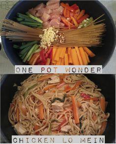 One Pot Chicken Lo Mein: Fettuccine noodles, chicken, carrots, red pepper, green onion, garlic, soy sauce, corn starch, garlic powder, corn starch, sugar, red pepper flakes, chicken broth, water, evoo