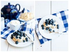 Lemon shortcake with blueberries.