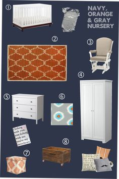 Mood Board: Navy, orange and gray boy nursery