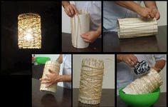 Um cano de PVC contornado com corda e cola branca misturada com água (ou farinha e água), as extremidades da corda presas com clips até secar.