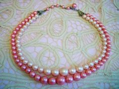 Vintage 1950s Pink Two Tone Beaded Choker Necklace