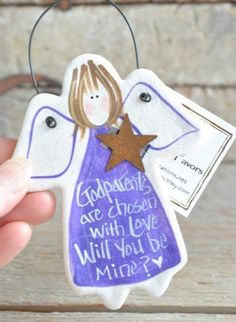 Cute godmother godfather gift proposal! This handcrafted salt dough ornament says, Godparents are chosen with love then asks Will you be mine? A unique way to ask the godparents and present them with a handmade gift at the same time! Shown in midnight blue, ornament is available in other colors, Godfather Gifts, The Godfather, Christening Gifts, Baptism Gifts, Ornaments Image, Christmas Tree Ornaments, Christmas Time, Handmade Shop, Handmade Gifts
