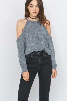 Urban Outfitters Cosy Cold Shoulder Grey Top