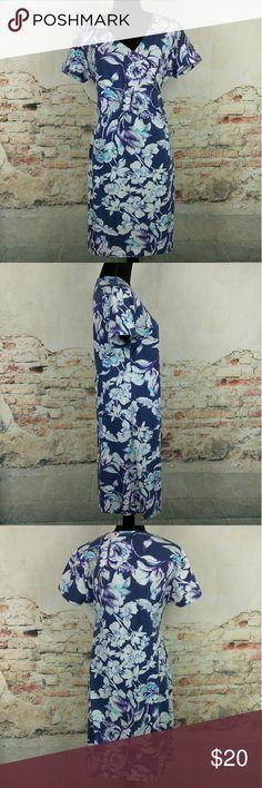 Soft Surroundings PM Blue Purple Floral Dress Soft Surroundings Wms Sz Petite M PM Blue White Purple Teal Floral Wrap Dress Soft Surroundings Dresses