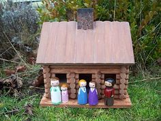 Little house on the Prairie peg dolls! We're totally painting some! Pa, Ma, Mary, Laura, and Carrie. I'm going to keep ours with the Lincoln Logs.