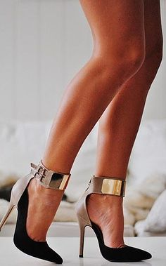 Black & taupe high heels with gold ankle-straps