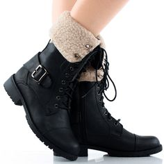Black Faux Shearling Fold Over Winter Combat Lace Up Flat Ankle Boots