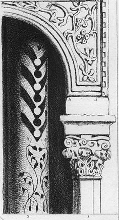 "Decorations on the pulpit of St. Mark's, Venice, and on columns, San Michele, Lucca  John Ruskin  R. P. Cuff, engraver  1855  4 1/8 x 2 3/16 inches  Plate XII, Figa. 1 & 2, The Seven Lamps of Architecture in Works, 8.199  See below for Ruskin's comments that the Library Edition ""Index to the Plates"" (8.xvii) identify as referring to these drawings.   Related material  •Ruskin's 1845 watercolor of San Michele, Lucca •Ruskin's 1845 watercolor of the edge of the façade)"