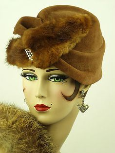 VINTAGE HAT 1940s USA, LADIES DAY HAT FUR WING & RHINESTONE TRIM, JULIE ORIGNAL in Clothes, Shoes & Accessories | eBay