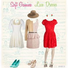 """Soft Gamine Lace Dresses"" by never-never-land on Polyvore"