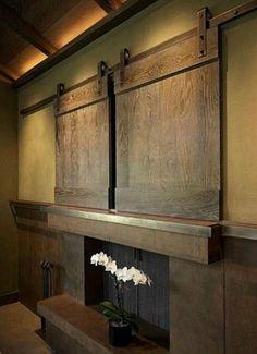 miniature barn doors to screen tv