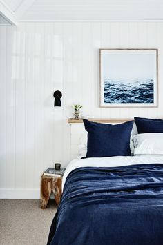 Best Modern Blue Bedroom for Your Home - bedroom design inspiration - bedroom design styles - bedroom furniture ideas - A modern style for your bedroom can be just accomplished with bold blue wallpaper in an abstract design and also patterned bedlinen Coastal Bedrooms, Coastal Living Rooms, Coastal Homes, Coastal Farmhouse, Coastal Cottage, Coastal Decor, Coastal Entryway, Coastal Bedding, Cottage Entryway