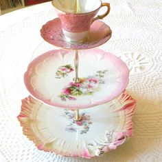 Pink Victorian tea & cupcake stand in 3 Mad Hatter / Alice in Wonderland tiers by High Tea for Alice