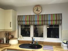 Roman blind in Cricket stripes Roman Blinds, Curtains With Blinds, Valance Curtains, Beautiful Blinds, Roller Blinds, Striped Fabrics, Cricket, Stripes, Home Decor