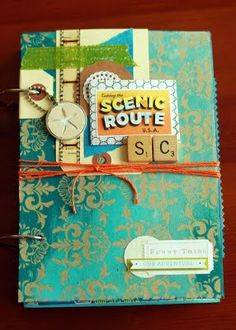 Travel journal mini book with nice details like the scrabble tiles on the cover and a journaling card with wavy text