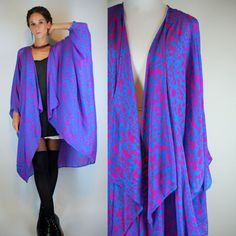 DRAPED Silk Cocoon Kimono Jacket. Vintage 70s Boho Avant Garde Indian Hand Block Print Purple Blue Maxi Dress Duster w/ Cascading Front OS