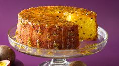 BRAZILIAN PASSIONFRUIT CAKE (bolo de maracuja) Considering the passion fruit originated in Brazil, it is little wonder that it features in so many of the nation's desserts. This simple sponge cake is not only laced with passionfruit, it is then drizzled in a rich passionfruit syrup for a double dose of tangy sweetness. Some versions of this cake also include a passionfruit mousse sandwiched between layers of the sponge. It is best served the day it is made.