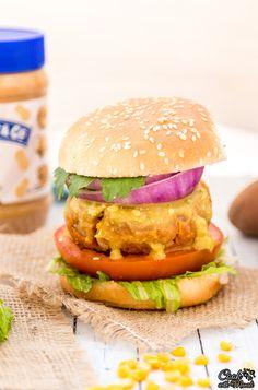 Peanut Butter Sweet Potato Lentil Burgers with Avocado Sriracha Sauce [Vegan] Vegan Lentil Burger, Lentil Burgers, Meatless Burgers, Vegan Burgers, Peanut Butter Sauce, Vegan Peanut Butter, Delicious Vegan Recipes, Vegetarian Recipes, Pescatarian Recipes