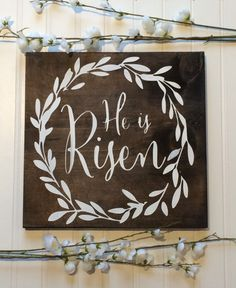 This He is Risen custom wood sign is a great reminder about what Easter is all about! This sign is made from pine and measures approx. 12 x 11.25. The background of the sign is stained with white painted detailing and lettering. The sign is clear coated for protection and includes a saw tooth for easy hanging.  Production time is about 3-5 days with additional time for shipping. Signs are shipped via Canada Post and will include a tracking number.  Please note that colours and samples may…