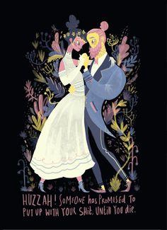 Snarky & pretty wedding illustration by Karl James Mountford