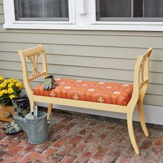 Harp-back chairs are frequent finds at used-furniture stores and flea markets ripe for a DIY reinvention. Transform a pair of vintage chairs into an outdoor bench that you and your guests will enjoy for years to come. See How to Build an Outdoor Bench From Dining Chairs for full step-by-step instructions.