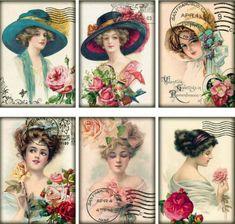 6-LADIES-TURN-OF-CENTURY-HATS-VINTAGE-155-LB-PAPER-CRAFT-CARD-SCRAPBOOK-TAG