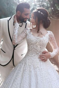 2017 New Arabic Wedding Dresses Scoop Neck Long Sleeves Full Lace Crystal Beaded Long Ball Gown Sweep Train Plus Size Formal Bridal Gowns Arabic Wedding Dresses, Arab Wedding, Princess Wedding Dresses, White Wedding Dresses, Lace Ball Gowns, Ball Gown Dresses, Beaded Dresses, Said Mhamad Photography, Bridal Gowns