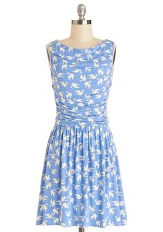 Feelin' Fly Dress. Youll be singing its praises the moment you slip into this printed dress from Leota. #blue #modcloth