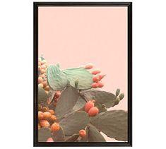 "Indian Summer Cactus Framed Print by Jane Wilder, 28 x 42"", Ridged Distressed Frame, Black, No Mat"