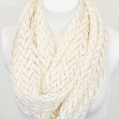 Chevron pattern lace infinity scarf