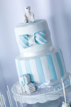 LOVE this cake at a Blue Christening Birthday Party! Found via Kara's Party Ideas | KarasPartyIdeas.com