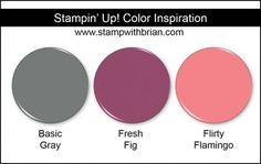 Stampin' Up! Color Inspiration: Basic Gray, Fresh Fig, Flirty Flamingo