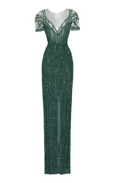 Shop Linear Crystal Embellished Gown With Sweetheart Neckline. Pamella Roland's crystal embellished gown is designed with a sheer yolk, linear embellished short sleeves, a fitted silhouette and a slit detail at front. Ball Dresses, Ball Gowns, Prom Dresses, Bridesmaid Gowns, Wedding Dresses, Elegant Dresses, Pretty Dresses, Embellished Gown, Embroidered Lace