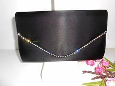 Black Evening Bag Rhinestone Trim Black by LittleBitsofGlamour, $36.00