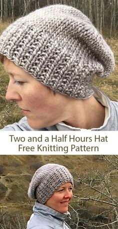 Free knitting pattern for Two and a Half Hours Hat - Slouchy beanie with broken rib brim that designer and Ravelrers say takes just a few hours to knit. Designed by Jennifer Beever. yarn knitting patterns One Day Knitting Projects Designer Knitting Patterns, Knitting Designs, Crochet Patterns, Free Knitted Hat Patterns, Simple Knitting Patterns, Knit Hat Pattern Easy, Easy Knit Hat, Knit Headband Pattern, Shrug Pattern
