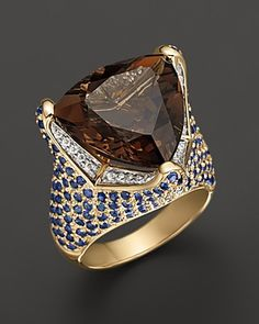Smokey Quartz Ring With Diamonds And Blue Sapphires in 14K Yellow Gold | Bloomingdale's