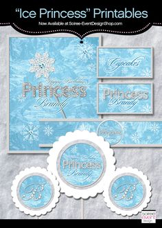 Frozen Party Ideas - Ice Princess Party Printables available at Soiree-EventDesignShop.com