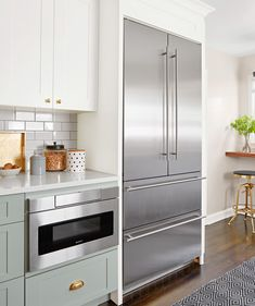 Kitchen Before and After A Quick Remodel French-Door Fridge Farmhouse Furniture, Kitchen Furniture, Kitchen Layout, Kitchen Design, Built In Desk, Fridge Built In, Built Ins, Home Decor Kitchen, Kitchen Ideas