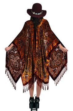 GABRIELLE'S AMAZING FANTASY CLOSET | Evening Wrap in Black & Sienna Paisley Velvet with Fringe.
